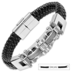 Men's Leather Stainless Steel Bracelet With Faux Diamond