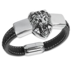 Men's Stainless Steel Lion's Head Bracelet with Black Genuine Leather Band