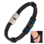Men's Black Braided Genuine Leather Bracelet with Turquoise and Black Accents