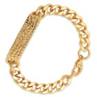 Men's 18k Gold-Plated Chain Bracelet with Stone Textured Pendant