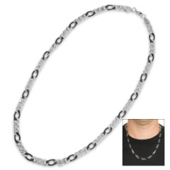 Men's Stainless Steel Cable / Chain Necklace with Black Accents