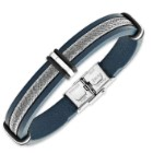 Men's Dusky Blue Leather Bracelet with Stainless Steel Wire Accents