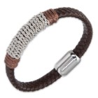 Men's Braided Genuine Leather Bracelet with Stainless Steel Rope Chain Accents