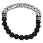 Men's Stainless Steel Skull, Chain and Black Lava Bead Bracelet