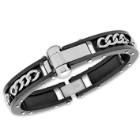Men's Stainless Steel Chain Inside Black Riveted Frame Bracelet