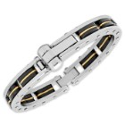 Men's Two-Tone Stainless Steel Bracelet with Black Rubber Links, Riveted Frame