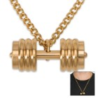 Gold Dumbbell Pendant on Chain - 18k Gold-Plated Stainless Steel Necklace