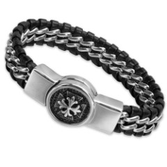Men's Braided Black Genuine Leather Bracelet with Stainless Steel Masonic Accent