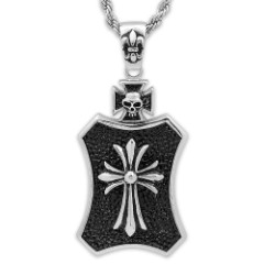 Cross on Black Pendant with Skull, Fleur De Lis Accents on Chain - Stainless Steel Necklace