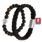 Two-Piece Bracelet Set - Black Braided Genuine Leather; Polished Lava Beads with Cross Accent