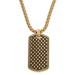 Studded Gold-Plated Dogtag Pendant on Gold-Plated Ball Chain - Stainless Steel Necklace