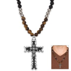 Tiger Eye and Black Lava Bead Rosary Necklace with Black- and Silver-Finished Stainless Steel Cross