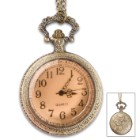 "Madison Bay Western-Style Pocket Watch Necklace - 2 1/2"" Timepiece Pendant on 15 1/2"" Chain - Antiqued Brass / Steel, Warm Patina, Hinged Glass Cover, Easy to Read Clock Numbers - Includes Battery"
