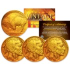Buffalo Nickels - 24k Gold Plated - Set Of 3