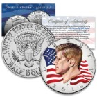 2018 JFK Half Dollar US Coin Mint In Acrylic Capsule – Genuine US Coin, High-Definition Colorization, Certificate Of Authenticity