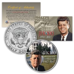 JFK Centennial Celebration Portait on White House Lawn Colorized Collectible Half Dollar