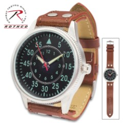 Rothco Military Style Leather Watch – Quartz Movement, Black Face, Luminous Numbers, Silver Alloy Case, Second Hand