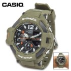 Master Of G-Shock Gravity Master Olive Drab Analog And Digital Watch - Water-Resistant, Luminous Hands, Temperature, Digital Compass
