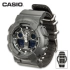 Casio G-Shock Analog / Digital Hybrid Wristwatch - Model GA-100BBN-1A Monotone - Water, Shock, Magnet Resistant; Cordura Watch Band; LED, World Time, Stopwatch, Timer, Alarm, Calendar, More