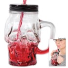 """The Crimson Cranium"" Skull Mason Jar Glass with Lid and Straw"