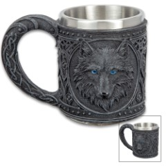 "Dark Wolf Coffee Mug And Tankard - 12-Ounce,  Cold Cast Resin Construction, Stainless Steel Liner, Intricate Detail - Dimensions 4 1/4""x 3"""