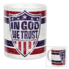 In God We Trust / Psalm 33:12 - Ceramic Coffee Mug - 11 oz