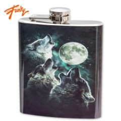 Three Wolves Howling Flask – 7 Oz.