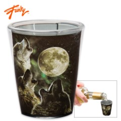 Three Wolves Howling Shot Glass – 2 Oz.