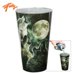 Just Funky Three Howling Wolves 16-oz. Black Pint Glass