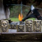 Raging Skulls Brushed Brass Lighter Set