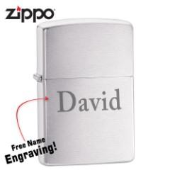 Zippo Brushed Chrome Lighter - FREE Engraving