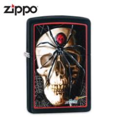 Zippo Black Matte Claudio Mazzi Black Widow Skull Windproof Lighter