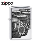 Jim Beam Zippo Lighter - Vintage-Style Bourbon Barrel Imagery - High Polish Chrome