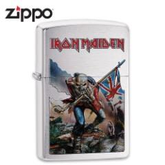 "Iron Maiden Zippo Lighter - ""The Trooper"" Album Art - Brushed Chrome"