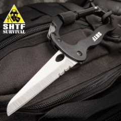 "SHTF VersaTool Carabiner - Aluminum And Stainless Steel Construction, Blade, Phillips Head Screwdriver, Flat Head Screwdriver - Dimensions 4 1/4""x 2 1/4"""