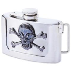 Skull And Crossbones Belt Buckle Flask