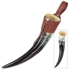 Viking Berserker Natural Ale / Drinking Horn with Leather Holder