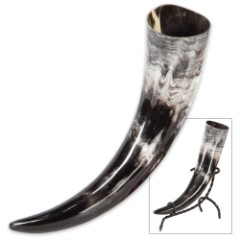 Viking Berserker Natural Ale / Drinking Horn with Metal Display Stand