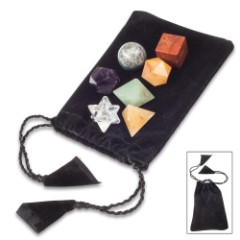 Chakra Geometry Set In Velvet Drawstring Pouch – Crafted Of Healing Stones, Variety Of Mystic Shapes, Promotes Spiritual Balance