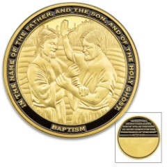 Baptism Challenge Coin - Metal Alloy Construction, Bronze Finish, Detailed 3D Relief, Bible Verse - Diameter 1 5/8""