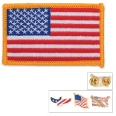 USA Flag Eagle Lapel Pin and Patch Gift Set