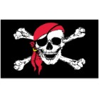 Jolly Roger / Skull and Crossbones Pirate With Red Scarf 3' x 5' Polyester Flag