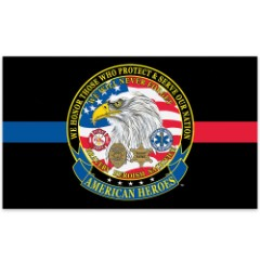 American Heroes Civil Servants Tribute Flag - Firefighters / Law Enforcement / EMS - 3' x 5