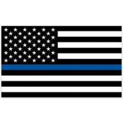 Police Tribute American Flag - Black and White US Flag with Single Blue Stripe - 3' x 5'