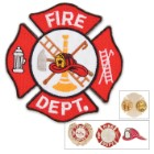 Fire Department / Firefighters Lapel Pin and Iron-on Patch Gift Set