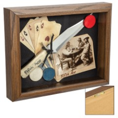 "Fifth Ace Gambling Shadow Box Wall Hanging - Solid Oak Frame, Antique Look, Historical Reproductions - Dimensions 8 1/2""x 11 1/2"""