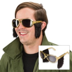 Elvis Presley Gold Colored Sunglasses with Built-In Sideburns