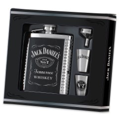 Jack Daniel's 4-Piece Stainless Steel Flask and Shotglass Gift Set