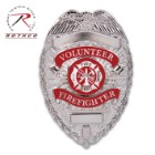 "Rothco Deluxe Silver Volunteer Firefighter Badge – Nickel-Plated, Sturdy Pin, Red Insignia – Dimensions 3 1/8""x2 1/4"""
