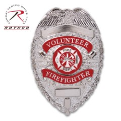 """Rothco Deluxe Silver Volunteer Firefighter Badge – Nickel-Plated, Sturdy Pin, Red Insignia – Dimensions 3 1/8""""x2 1/4"""""""